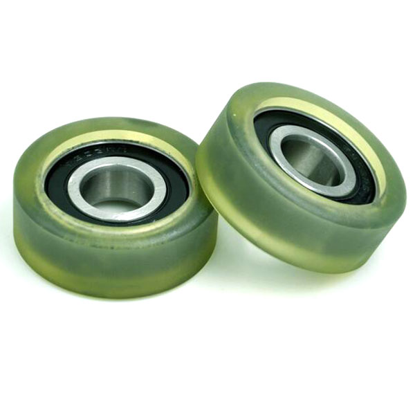 High Load 6203 2RS 17x50x18mm Polyurethane roller wheels for conveyor
